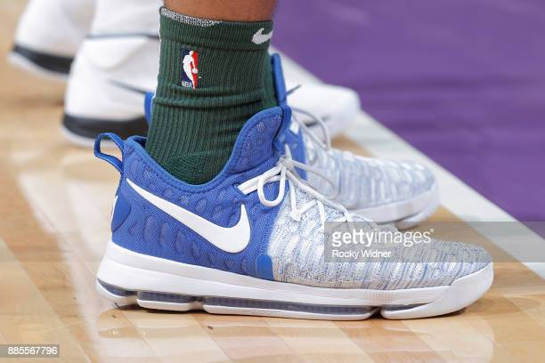 The sneakers belonging to Malcolm Brogdon of the Milwaukee Bucks in a game against the Sacramento Kings on November 28 2017 at Golden 1 Center in...
