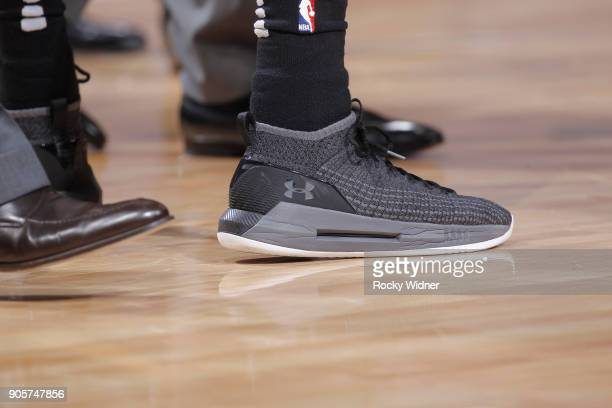 The sneakers belonging to Patty Mills of the San Antonio Spurs in a game against the Sacramento Kings on January 8 2018 at Golden 1 Center in...