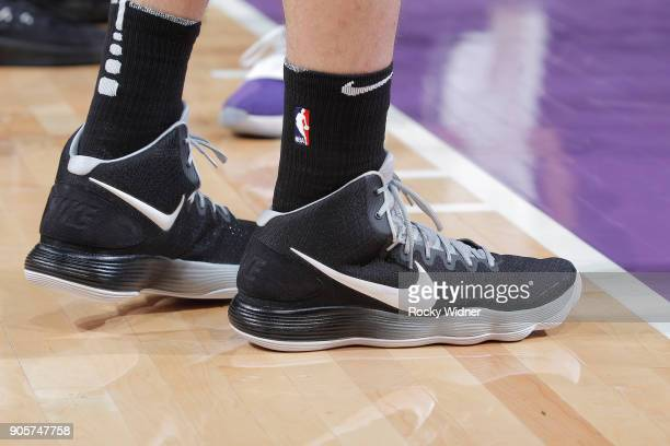 The sneakers belonging to Pau Gasol of the San Antonio Spurs in a game against the Sacramento Kings on January 8 2018 at Golden 1 Center in...