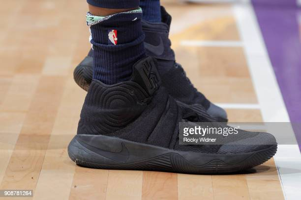 The sneakers belonging to Rodney Hood of the Utah Jazz in a game against the Sacramento Kings on January 17 2018 at Golden 1 Center in Sacramento...