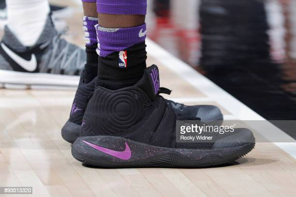 The sneakers belonging to Skal Labissiere of the Sacramento Kings in a game against the Toronto Raptors on December 10 2017 at Golden 1 Center in...