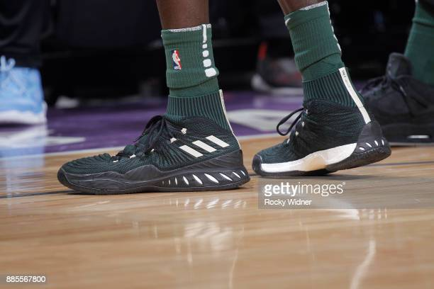 The sneakers belonging to Thon Maker of the Milwaukee Bucks in a game against the Sacramento Kings on November 28 2017 at Golden 1 Center in...