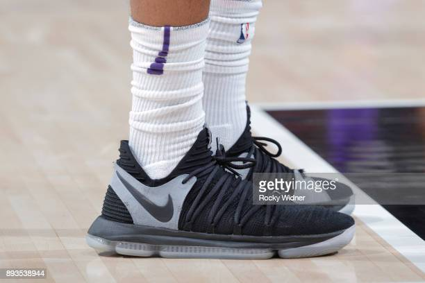 The sneakers belonging to TJ Warren of the Phoenix Suns in a game against the Sacramento Kings on December 12 2017 at Golden 1 Center in Sacramento...