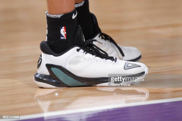 The sneakers belonging to Tony Parker of the San Antonio Spurs in a game against the Sacramento Kings on January 8 2018 at Golden 1 Center in...