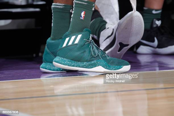 The sneakers belonging to Tony Snell of the Milwaukee Bucks in a game against the Sacramento Kings on November 28 2017 at Golden 1 Center in...