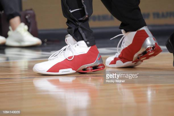 63586a36c65bfc The sneakers belonging to Vince Carter of the Atlanta Hawks in a game  against the Sacramento