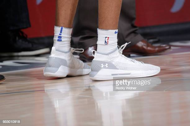 The sneakers belonging to Wes Iwundu of the Orlando Magic in a game against the Sacramento Kings on March 9 2018 at Golden 1 Center in Sacramento...