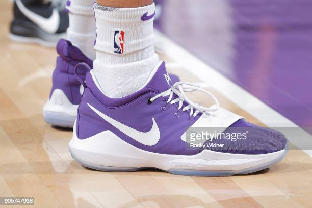 The sneakers belonging to Willie CauleyStein of the Sacramento Kings in a game against the San Antonio Spurs on January 8 2018 at Golden 1 Center in...
