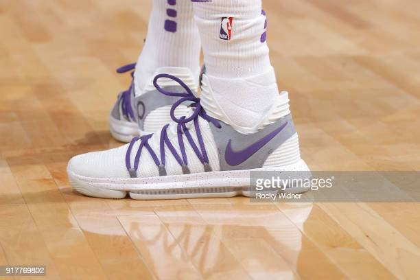 The Sneakers belonging to Willie CauleyStein of the Sacramento Kings in a game against the Dallas Mavericks on February 3 2018 at Golden 1 Center in...