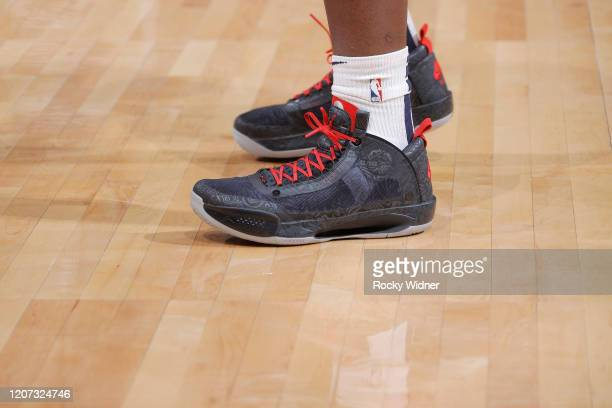 The sneakers belonging to Zion Williamson of the New Orleans Pelicans prior to the game against the Sacramento Kings on March 12 2020 at Golden 1...