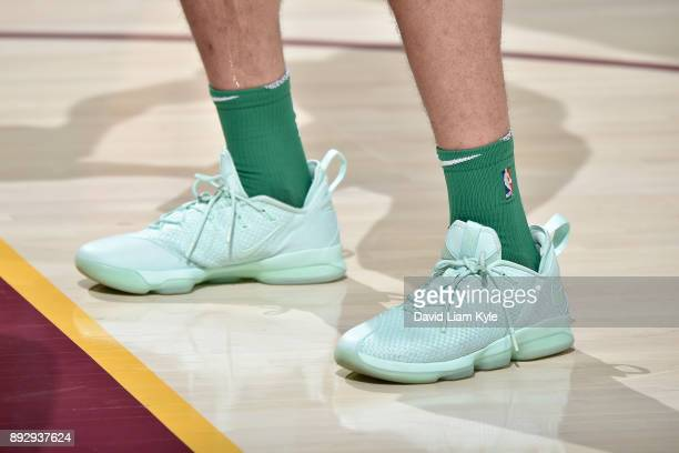 The sneakers of Abdel Nader of the Boston Celtics are seen before the game against the Cleveland Cavaliers on October 17 2017 at Quicken Loans Arena...