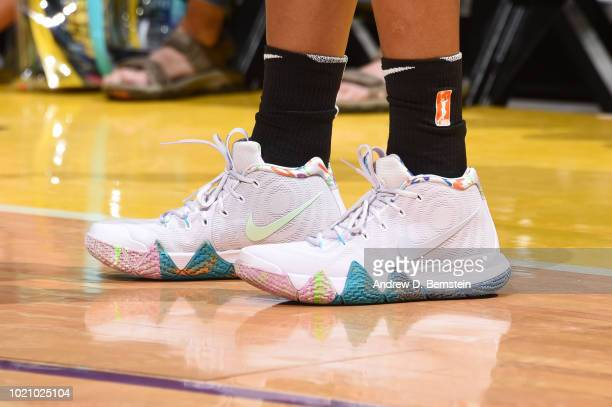 The sneakers of Alana Beard of the Los Angeles Sparks are seen during the game against the Minnesota Lynx in Round One of the 2018 WNBA Playoffs on...
