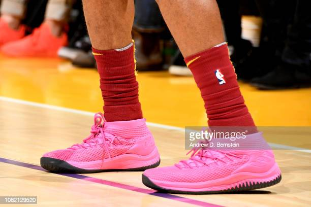 The sneakers of Alec Burks of the Cleveland Cavaliers are worn during a game against the Los Angeles Lakers on January 13 2019 at STAPLES Center in...