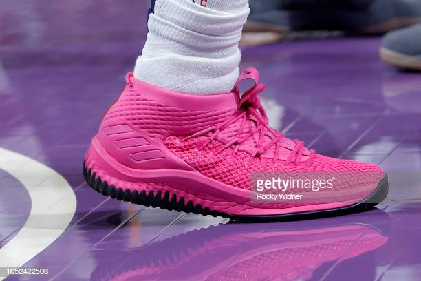 the sneakers of Alec Burks of the Utah Jazz are seen against the Sacramento Kings on October 17 2018 at Golden 1 Center in Sacramento California NOTE...