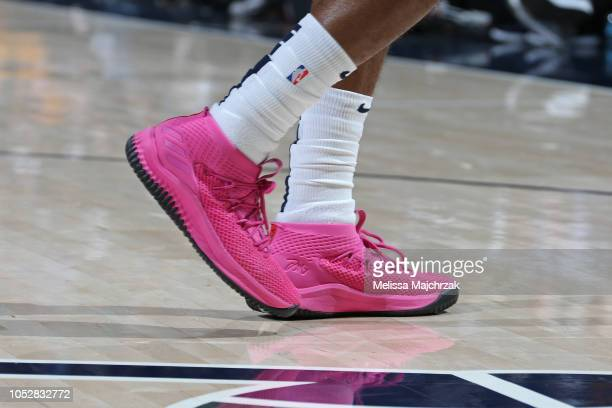 The sneakers of Alec Burks of the Utah Jazz during a game against the Golden State Warriors on October 19 2018 at Vivint Smart Home Arena in Salt...