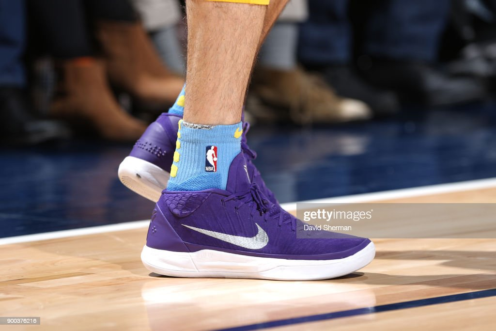 The sneakers of Alex Caruso #4 of the Los Angeles Lakers are seen during the game against the Minnesota Timberwolves on January 1, 2018 at Target Center in Minneapolis, Minnesota.
