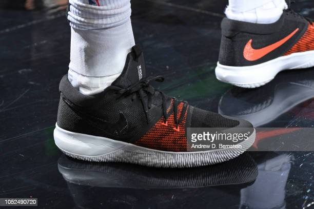 The sneakers of AlFarouq Aminu of the Portland Trail Blazers during the game against the Los Angeles Lakers on October 18 2018 at the Moda Center...
