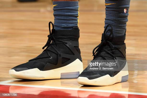 The sneakers of Alfonzo McKinnie of the Golden State Warriors during the game against the LA Clippers on November 12 2018 at STAPLES Center in Los...