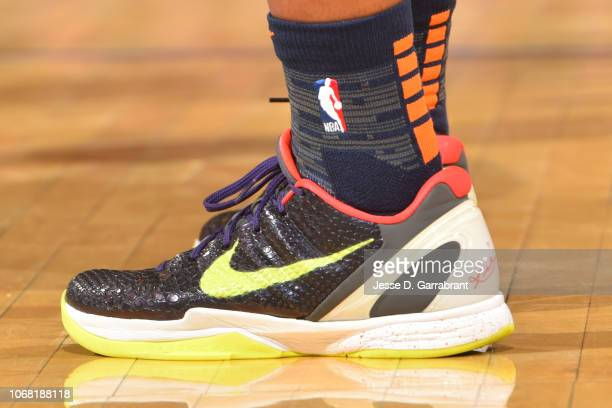 The sneakers of Allonzo Trier of the New York Knicks are worn during a game against the Washington Wizards on December 3 2018 at Madison Square...
