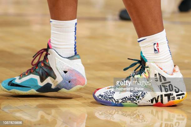 The sneakers of Allonzo Trier of the New York Knicks during the game against the Chicago Bulls on November 5 2018 at Madison Square Garden in New...