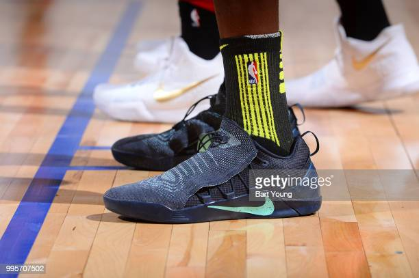 The sneakers of Alpha Kaba of the Atlanta Hawks are seen during the game against the Chicago Bulls during the 2018 Las Vegas Summer League on July 10...