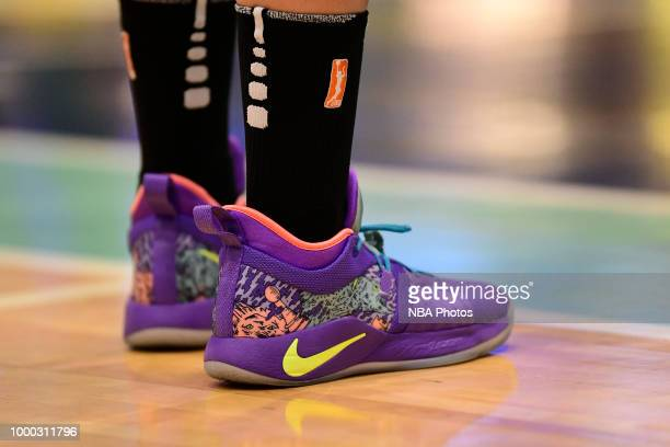The sneakers of Amanda Zahui B #17 of the New York Liberty are seen during the game against the Chicago Sky on July 15 2018 at Westchester County...