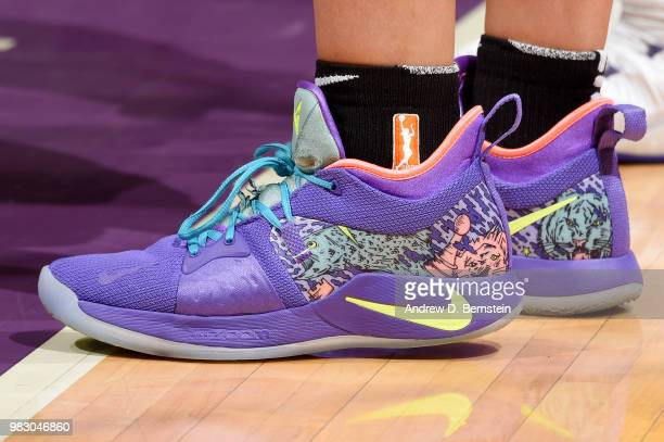 The sneakers of Amanda Zahui B #17 of the New York Liberty are seen during the game against the Los Angeles Sparks on June 24 2018 at STAPLES Center...