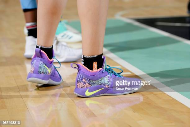 The sneakers of Amanda Zahui B #17 of the New York Liberty are seen during the game against the Chicago Sky on June 29 2018 at Westchester County...