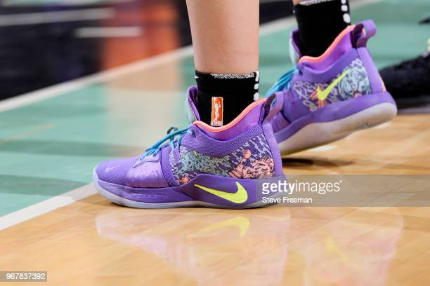 The sneakers of Amanda Zahui B #17 of the New York Liberty during the game against the Phoenix Mercury on June 5 2018 at Madison Square Garden in New...