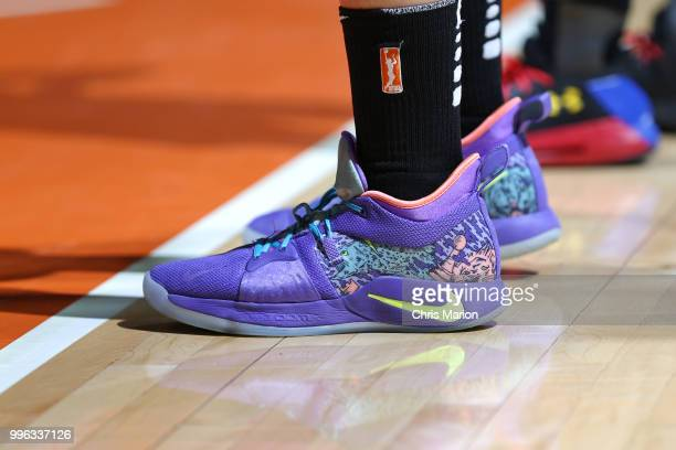 The sneakers of Amanda Zahui B #17 of the New York Liberty during the game against the Connecticut Sun on July 11 2018 at the Mohegan Sun Arena in...