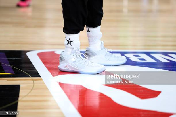 The sneakers of Andre Drummond of Team LeBron during the NBA AllStar practice as part of the 2018 NBA AllStar Weekend on February 17 2018 at the...