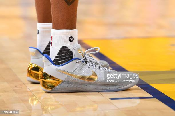 The sneakers of Andre Iguodala of the Golden State Warriors are seen in Game Five of the 2017 NBA Finals on June 12 2017 at ORACLE Arena in Oakland...
