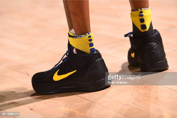 The sneakers of Andre Iguodala of the Golden State Warriors are seen during the game against the Phoenix Suns on February 12 2018 at ORACLE Arena in...