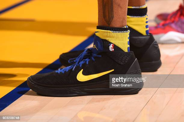 The sneakers of Andre Iguodala of the Golden State Warriors are seen during the game against the LA Clippers on February 22 2018 at ORACLE Arena in...