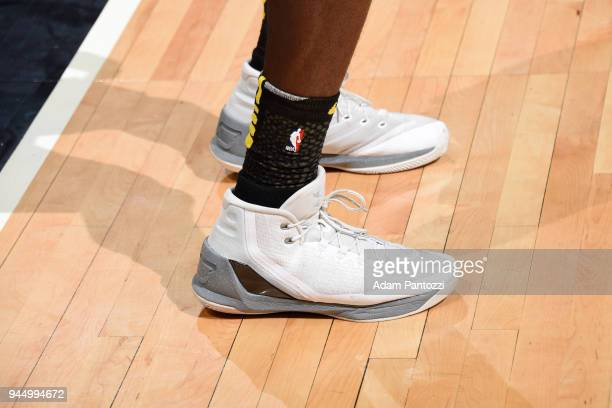 The sneakers of Andre Ingram of the Los Angeles Lakers during the game against the LA Clippers on April 11 2018 at STAPLES Center in Los Angeles...