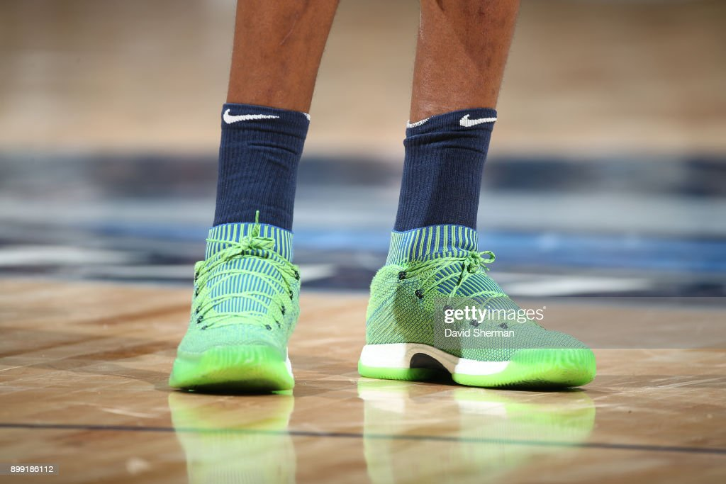 The sneakers of Andrew Wiggins #22 of the Minnesota Timberwolves are seen during the game against the Denver Nuggets on December 27, 2017 at Target Center in Minneapolis, Minnesota.