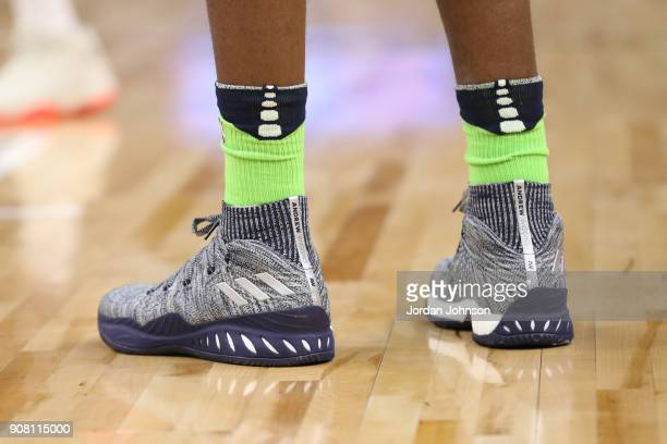 The sneakers of Andrew Wiggins of the Minnesota Timberwolves are seen during the game against the Toronto Raptors on January 20 2018 at Target Center...
