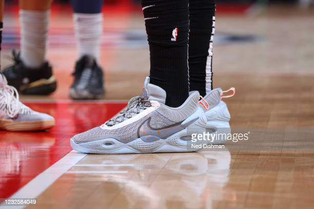 The sneakers of Anthony Davis of the Los Angeles Lakers during the game against the Washington Wizards on April 28, 2021 at Capital One Arena in...