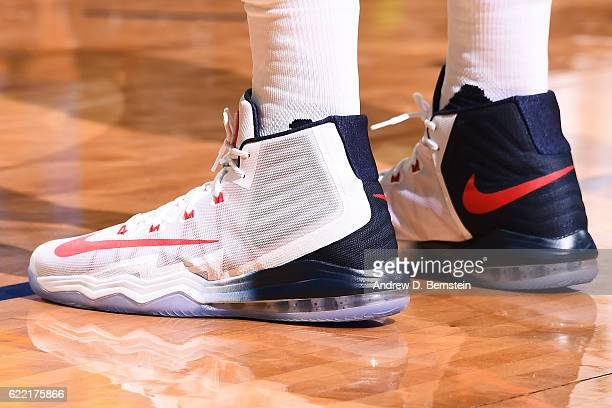 The sneakers of Anthony Davis of the New Orleans Pelicans are seen during a game against the Golden State Warriors at Smoothie King Center on October...