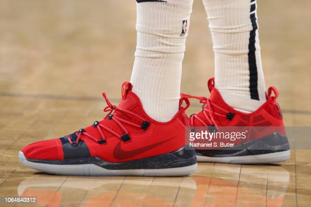 a7e9a3786aab The sneakers of Anthony Davis of the New Orleans Pelicans are worn during a game  against