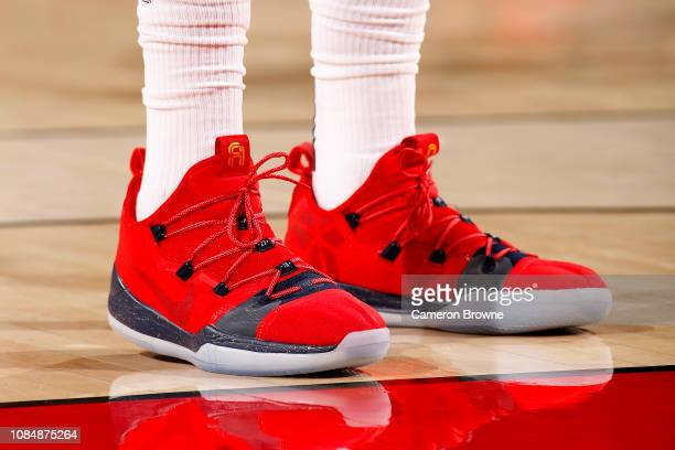 bf27455bba4a The sneakers of Anthony Davis of the New Orleans Pelicans as seen during  the game against