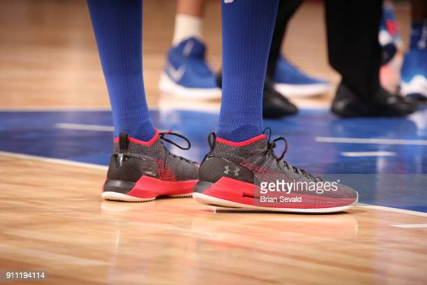 The sneakers of Anthony Tolliver of the Detroit Pistons as seen during the game against the Oklahoma City Thunder on January 27 2018 at Little...