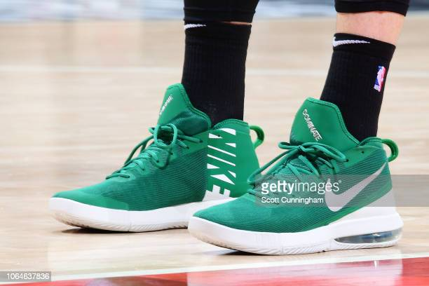 the sneakers of Aron Baynes of the Boston Celtics are seen against the Atlanta Hawks on November 23 2018 at State Farm Arena in Atlanta Georgia NOTE...