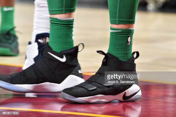 The sneakers of Aron Baynes of the Boston Celtics during the game against the Cleveland Cavaliers on October 17 2017 at Quicken Loans Arena in...