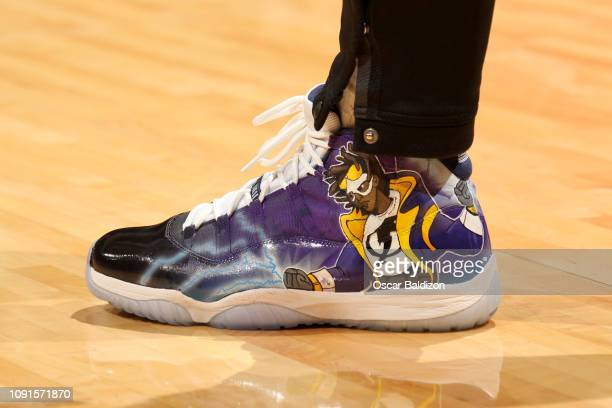 The sneakers of Bam Adebayo of the Miami Heat before the game against the Chicago Bulls on January 30 2019 at American Airlines Arena in Miami...