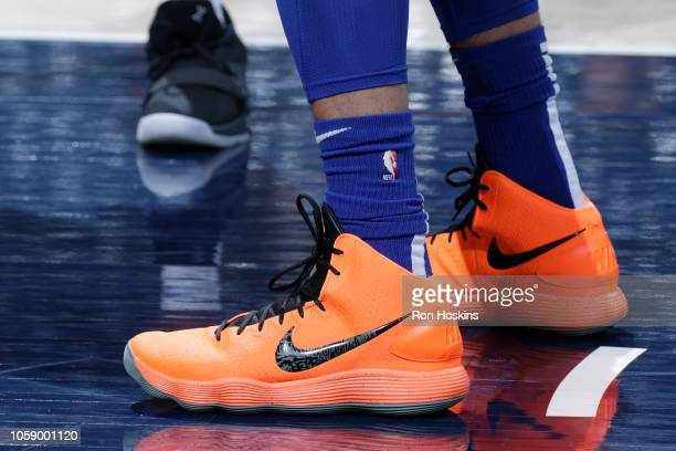 The sneakers of Ben Simmons of the Philadelphia 76ers are worn prior to a game against the Indiana Pacers on November 7 2018 at Bankers Life...