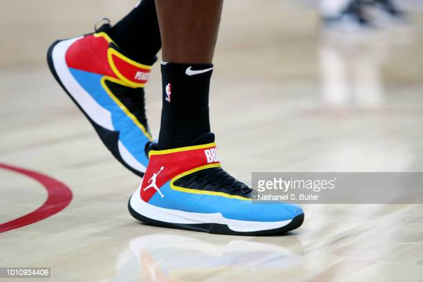 The sneakers of Bismack Biyombo of Team Africa are seen during the game against Team World during the 2018 NBA Africa Game as part of the Basketball...