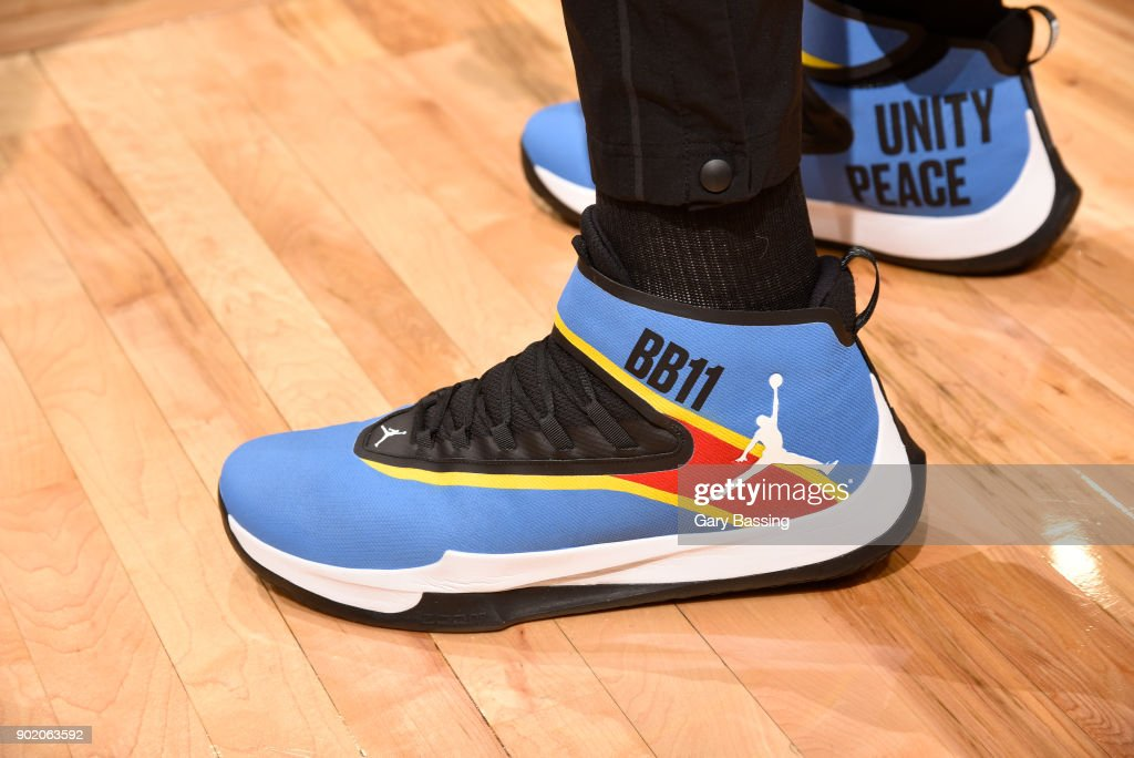 The sneakers of Bismack Biyombo #11 of the Orlando Magic are seen during the game against the Cleveland Cavaliers on January 6, 2018 at Amway Center in Orlando, Florida.