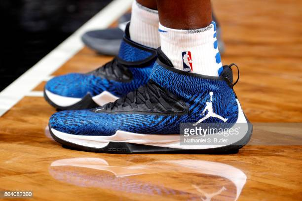 The sneakers of Bismack Biyombo of the Orlando Magic during the game against the Brooklyn Nets on October 20 2017 at Barclays Center in Brooklyn New...