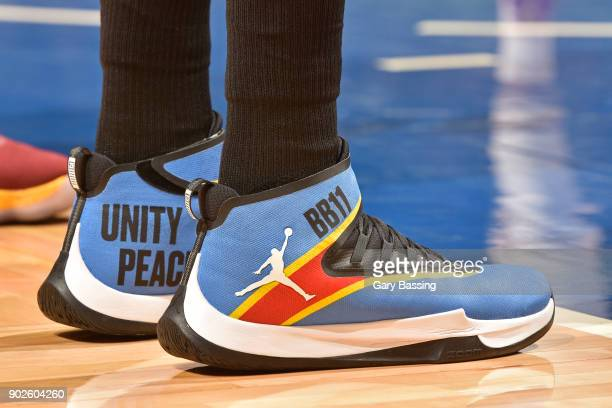 The sneakers of Bismack Biyombo of the Orlando Magic during the game against the Cleveland Cavaliers on January 6 2018 at Amway Center in Orlando...